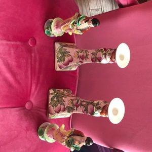 Accessories - Vintage Oriental ceramic candle holder & dolls